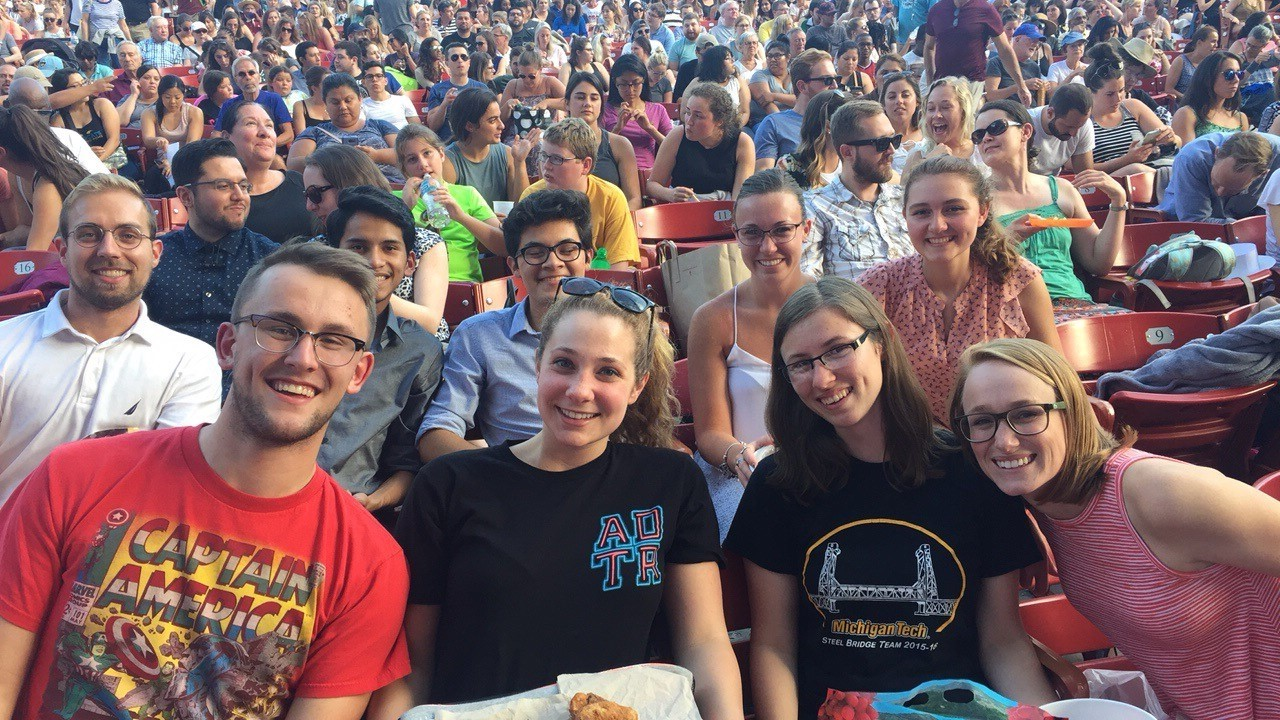 Burns & McDonnell summer interns at a Chicago Cubs baseball game