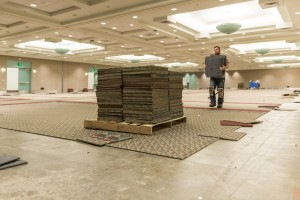 Carpet Square removal with worker and stack Wide
