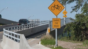 The Heart of America Bridge provides a dedicated bike lane for cyclists.