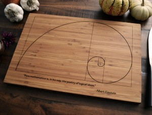 Fibonacci Spiral & Einstein Quote Bamboo Cutting Board