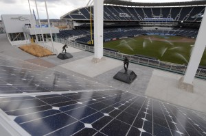 Solar panels help power Kauffman Stadium